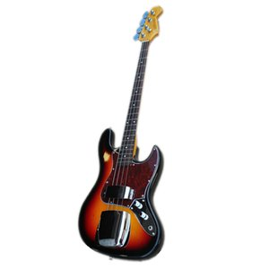 free delivery 4 strings JB electric bass ,sunburst body,chrome buttons,Iron cover,yellow neck Imitation of the old guitar