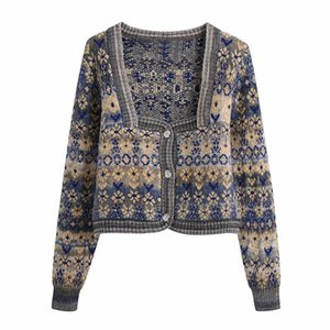 Retro Cardigan Knitted Jacket Y2k Korean Fashion Long Sleeve Jacquard Sweater Cn(origin) Office Square Collar Women Clothes Women's Knits &
