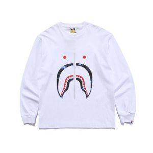 2021 Moda de alta calidad Japón manga larga tiburón cremallera impresión camisetas hombres y mujeres tee calle algodón camiseta
