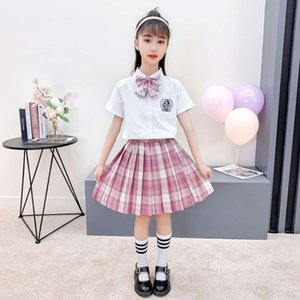 Girls' JK Uniform 2021 new product: big children's Short Sleeve Shirt plaid skirt two piece dance performance suit
