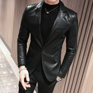 New Faux Leather Mens Blazer Luxury Double Breasted Pu Male Blazer Fashion Embroidery Single Breasted Slim Fit Man