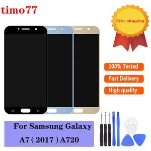 SAMSUNG GALAXY A720 A7200 için Süper OLED Dokunmatik Paneller A720F A720M LCD Ekran Digitizer Meclisi Değiştirme Hiçbir Ölü Piksel Test kesinlikle