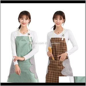 Tools Kitchen Dining Bar Garden Drop Delivery 2021 Household Waterproof Handwiping Apron Towel Stripes Plaid Adjustment Antifouling Oilproof