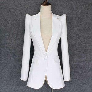 TOP QUALITY Stylish Designer Blazer Women's Shrug Shoulder Single Button White Jacket 210929