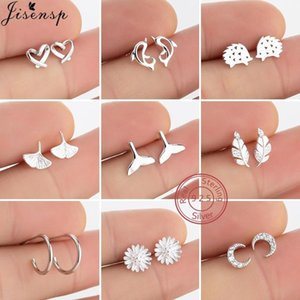 100% 925 Sterling Silver Animal Earrings for Women Fashion Leaf Dolphin Heart Stud Earings Daisy Flower Jewerly Accessories