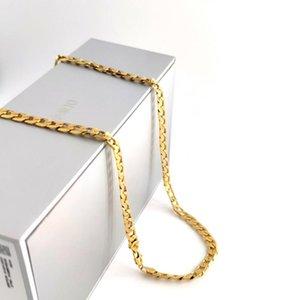 Solid Yellow G F Gold Curb Cuban Link Chain Necklace Hip-Hop Italian Stamp AU750 Men's Women 7mm 750 MM 75 CM Long 29 INCH Pendant Necklac N