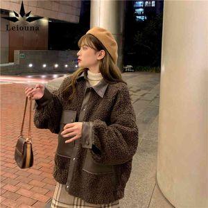 Leiouna imitation agneau laine coréenne vintage hiver marron hiver simple poitrine gros cuir couture couture fourrure fourrure