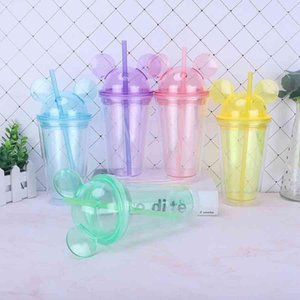 Acrylic Mugs With Dome Lid Straw Double Wall Clear Plastic Bottle Travel Tumbler Reusable Cup 9 Colors 15oz Sea Shipping
