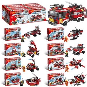 Assembled building blocks City Fire Brigade DIY small particle children puzzle toys gift wholesale