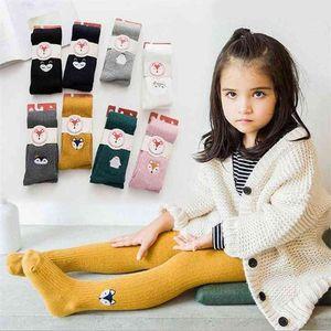 Girl Socks Autumn Spring All Match Embody 1-12 Year Child Pantyhose 100% Cotton Kids Baby Girls Long Socks 210414