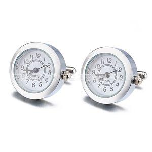 Lepton Functional Watch Cufflinks For Mens Round Real Clock Cuff Links With Battery Digital Watch Cufflink Cuffs Relojes Gemelos 874 R2
