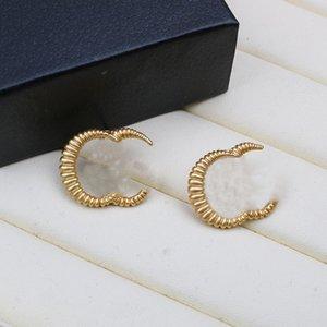 Stampa a righe Orecchini da donna per borchie Lettera classica Lettera in metallo orecchino Stud in Style Style Charm Ladies Gioielli