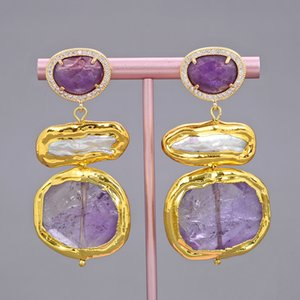 GuaiGuai Jewelry Freshwater Natural White Biwa Keshi Pearl Amethysts Nugget Gold Color Plated Earrings Handmade For Women Real Gems Stone Lady Fashion Jewellry