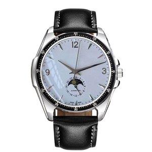 Yüksek Kalite Luxry Saatler Ultra Ince 43mm Ay Faz Arama Otomatik Mekanik Erkek İzle Deri Kayış Spor Kentleri Saatı Montre de Luxe