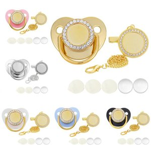 Sublimation Pacifier Gold Blank Diamond Play Mouth Favor Bling Baby Pacifiers with Chain Heat Transfer Silicone Nipple