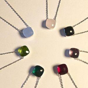 Altri accessori di moda Materiale in ottone Parigi Design con natura giada e zircone Decorare la collana del pendente singolo 43cm Braccialetto di fascino per