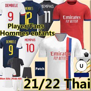 Maillot de Lyonnais 2021 2022 Футбол Джьи Лион Мемфис Дембеле Мужчины Детский комплект Футбольная рубашка Брюки Шорты