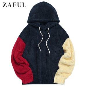 Zaful outono homens fuzzy hoodies splicing cordão manga comprida com capuz moletom outdoor casual mulheres peluche streetwear