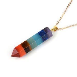 Arco iris Chakra Piedra Collares Collares Cuarzo natural Reiki Curación de la joyería de cristal de la curación para las mujeres HEXONAL PRISM PENDULUM CHARMS 638 K2