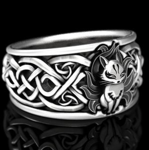 Gothic Fashion Animal Ring Hollow Cartoon Fox Ring Unisex Vintage Silver Black Men's and Women's Hip-hop Party Jewelry Gifts