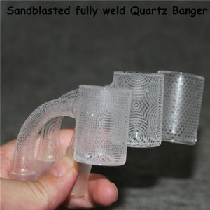 Smoking Fully weld Quartz Banger with sandblasted thick bottom Flat Top Embossing Bangers Nail 10mm 14mm 18mm male nectar collector dab straw pipe ash catcher