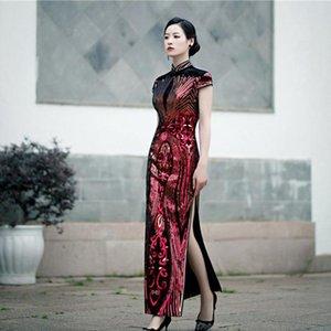 Ethnic Clothing Velvet Mandarin Collar Qipao Plus Size 3XL-5XL Sequins Cheongsam Lady Evenining Party Dress Gown Short Sleeve Chinese Vestid