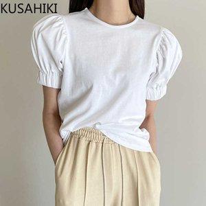 KUSAHIKI Causal O-neck Puff Short Sleeve T Shirts Korean Solid Women Graphic Tee Summer Elegant Tshirt Feminimos 6F950 210602