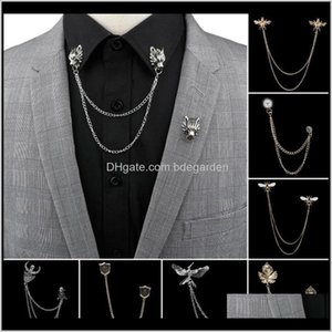 Pins, Brooches Jewelry Drop Delivery 2021 Man Suit Shirt Collar Tassel Chain Lapel Pin Brooch Dragon Badge Retro Pins Wedding Dress Party Dan