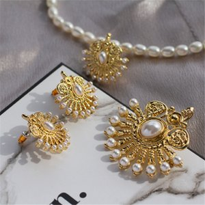Fashion Retro Style Imitation 925 Pearl Screen Bird Ear Needle Brooch Necklace New Silver Drop Stud Earrings Open Clip Suit Qaeml