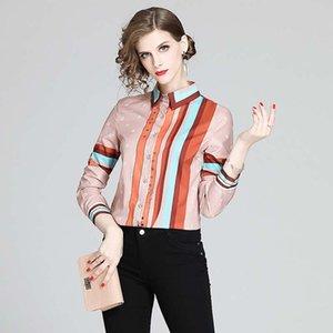 Latest Striped Runway Elegant Shirts Women 2021 Luxury Designer Vintage Lantern Sleeve Lapel Slim Office Ladies Printed Blouses Autumn Winter Fashion Casual Tops