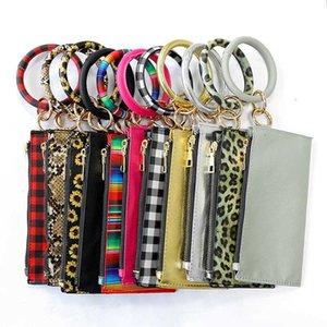 Sunflower PU Bracelet Leather Print Keychain Card Wallet Leopard Bangle Purse Fashion Circle Wrist Strap Clutch Mini Bag BWE1035