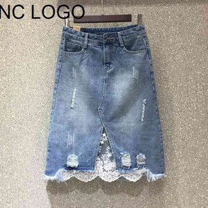 2021 Summer Spring New Women Lace Patchwork Denim Casual High Waist A-line Slim Knee-length Jean Skirt Plus Size