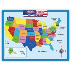 60*45cm America Map Wall Stickers Children Geography Learning Early Childhood Education Poster Walls Chart Classroom Kindergarten Decoration HH21-244