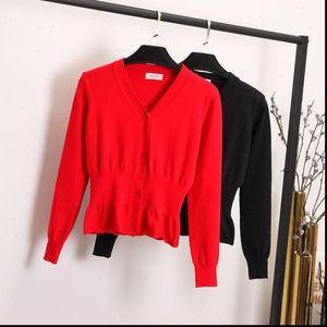 Womens Sweater cardigan French small paragraphs short thin v neck ice silk shawl jacket Rouje falbala long sleeved female
