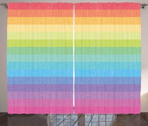Curtain & Drapes Vintage Rainbow Kitchen Curtains Abstract Lines With Colors Grunge Old Fashioned Stripes Home Window Decor Panel
