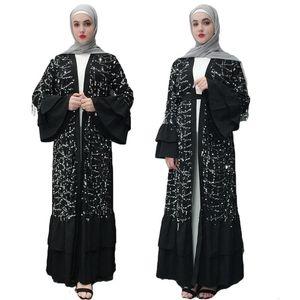 Dubai quimono abaya lantejoula glitter kaftan jilbab muçulmano maxi vestido islâmico aberto cardigan robe flare ruffle manga ramadan moda