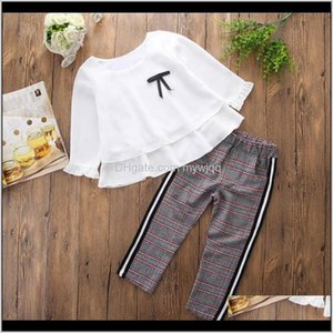 Clothing Sets Clothes For Toddler Baby Kids Girls Outfits Ruffle T Shirt Topschecked Pants Set Ropa Niña W7Bkv T1Yup