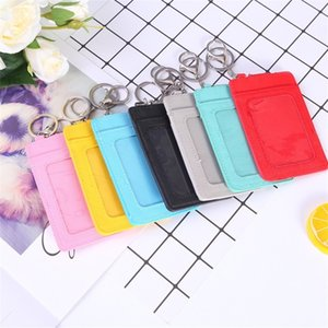 PU Leather Bag 3 Card Positions Cardholder Key Chain Accessories Mens Cutting Sleeve Credit Square Transparent Snap Button 2 9q L2 7QL9