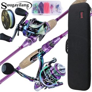 Sougayilang 2.1m Casting   Spinning Fishing Rod And 5.2:1 Reel Combo , With Line Lure Tackle Bag