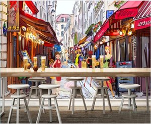 3d photo wallpaper custom mural Paris street view modern girl shopping oil painting style home decor in the living Room 3d wall murals wallpapers for walls 3 d