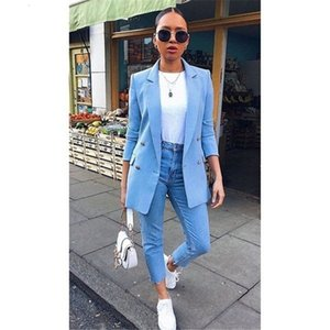 Designer Solid Womens Blazer Fashion Long Styles Double Breasted Suit Coats Fashion Womens Plus Size Casual Jacket