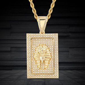 Hip Hop Iced Out Bling Pharaoh Pendant Necklaces Micro Pave Zircon Charm Necklace Vintage Jewelry Fashion Gifts For Men