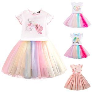Baby Girls Unicorn Dresses Solid Gauze Cartoon Tutu Princess Dress Baby Girl Casual Clothes Girls Vest Mini Dress 2-7T 07