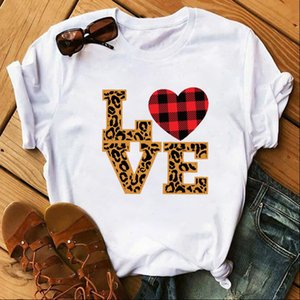 Women Womens Tops Love Leopard Plaid Graphic Female Print Valentines Day Top Clothes Lady Ladies Tee T Shirt shirts