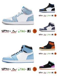 С коробкой 2021 Jumpman 1 1S мужская баскетбольная обувь обсидианский UNC Университет синий гипер королевский крутой серебряный носок темные мокко чикагские кроссовки 008
