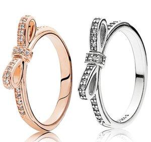 Bague de mariage en argent sterling 925 Boîte d'origine pour Pandora 18K Rose Rose Gold Bow Sparkling Boad de luxe Bijoux Femmes Anneaux WJL4737