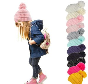 Cc Knitted Kids Chunky Skull Caps Winter Cable Knit Slouchy Crochet Hats Outdoor Warm Beanie Cap 11 Colors 50Pcs J2Dve A3Pgn