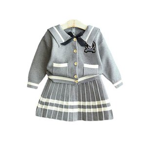 Girls Sweater Sets Kids Clothing Baby Clothes Outfits Autumn Winter Knitting Patterns Cardigan Coat Pleated Skirts Children Suits 2Pcs B8360