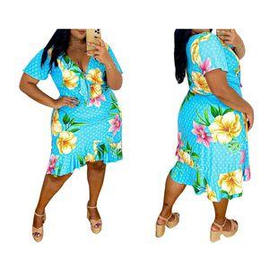 Free Ship Women Fashion Floral Print V-neck Bodycon Dresses Casual Slim Fit Short Mini Dress 5XL Plus Size