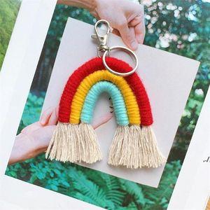 Weaving Raiow Beychains Boho Держатель ключа Keyring MacRame Bag Charm Hair Hanging Fe 2021 AHA4706